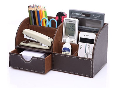 7 Storage Compartments Multifunctional PU Leather Office Desk Organizer